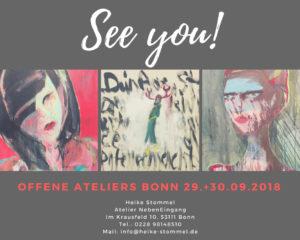 Fotocollage zu den Offenen Ateliertagen Bonn mit Gemälden von Heike Stommel