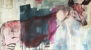 """Gemaltes Bild mit dem Titel """"Niemand guckt aufs Okapi"""" von Heike Stommel"""