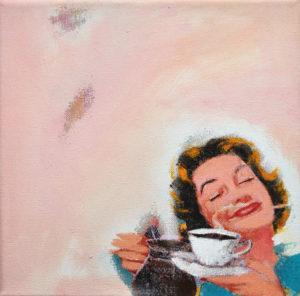 """Gemaltes Bild mit dem Titel """"Fake Painting No 2 """"cofffeetime"""""""" von Heike Stommel"""