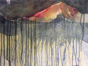 """Gemaltes Bild mit dem Titel """"Work in progress (Alpenglühen)"""" von Heike Stommel"""