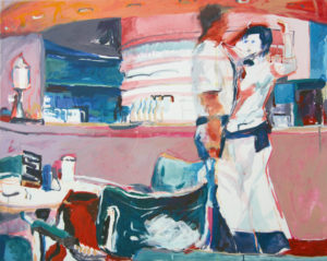 """Gemaltes Bild mit dem Arbeitstitel """"Museumscafe III"""" von Heike Stommel"""