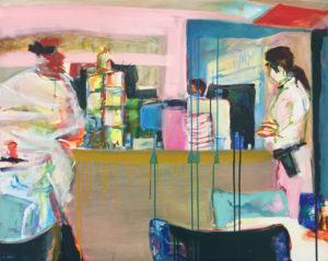 """Gemaltes Bild mit dem Arbeitstitel """"Museumscafe IV"""" von Heike Stommel"""