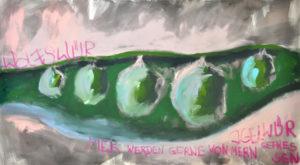 """Gemaltes Bild mit dem Titel """"Pisum sativum"""" von Heike Stommel"""